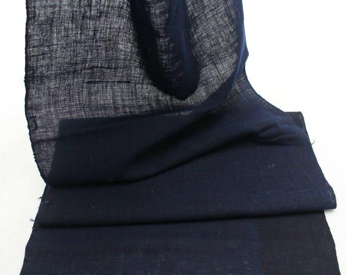 Japanese Indigo Cotton. Artisan Aizome Boro Textile. Blue Vintage Folk Fabric with White Kanji (Ref: 1846B)