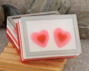 Double Hearts Artisan Glycerin Soap in Pink, Red and White