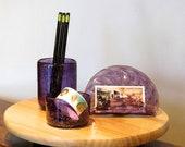 Purple & Gold Glass Desk ...