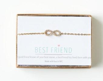 Graduation Gift for Best Friend Gift for Sister Eternity Bracelet Gold Pendant Bracelet Birthday Gift for Her Friendship Bracelet B163-G-13