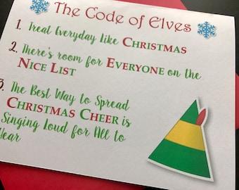 Instant Printable Digital Download Christmas Card Code of Elves