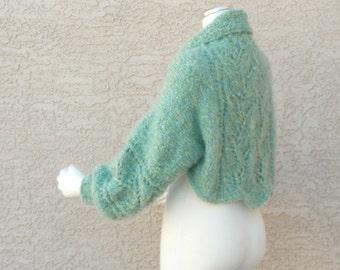 Hand Knit Shrug Sweater Bolero Jacket Balloon Sleeve Lace Mohair or Alpaca Blend Choose your Color