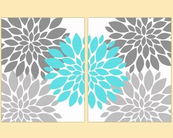 "Gray and Aqua Blue Flower Bursts Wall Art Set Botanical Art 2 - 11"" x 14"" Prints Modern Wall Art Set Prints Home Decor (108)"