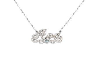 SNP13cz Silver Cubic Zirconia Script Name Necklace with Heart