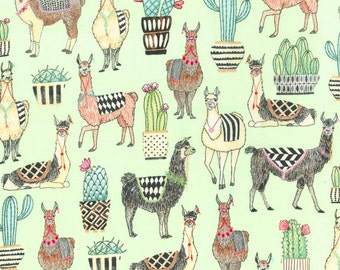 Michael Miller - Mint Lovely LLamas - Fabric by the yard