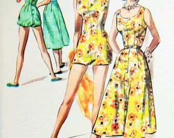 1950s FAB Beach Wear Pattern McCalls 3919 Playsuit Swimsuit Rompers and Skirt Vintage Sewing Pattern Bust 34 UNCUT