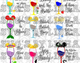 PRINCESS INSPIRED wine glass BUNDLE