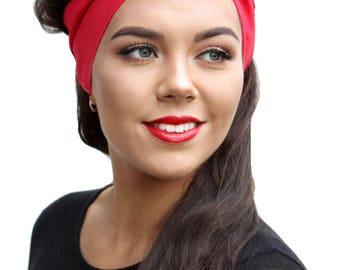 True Red Land Girl Rockabilly Pinup 50s Style Head Scarf