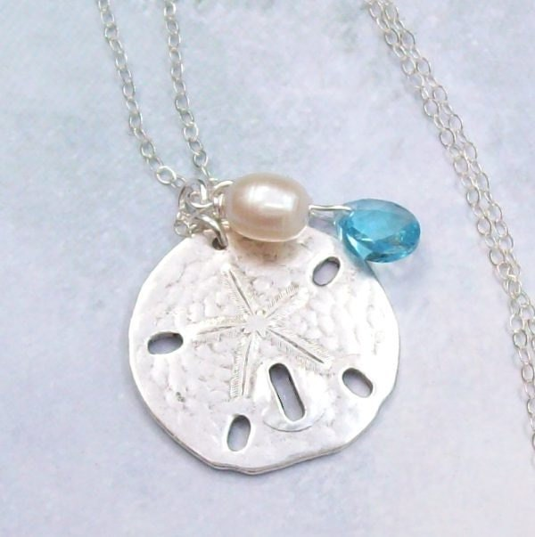 Silver sand dollar necklace tropical necklace sand dollar zoom aloadofball Images
