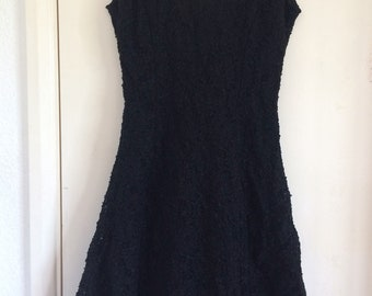 Vintage Debut Debenhams Black Dress 10 Textured Formal BRAND NEW