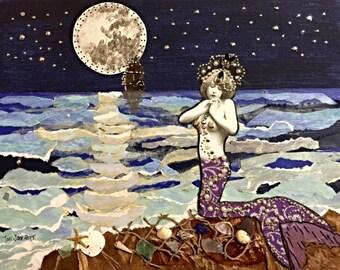 Mermaids Prayer, little mermaid, Mermaid Art Print, Mermaid Decor, Mermaid Painting, Mermaid Gifts, Mermaid Wall Art, Mermaid Mixed Media,