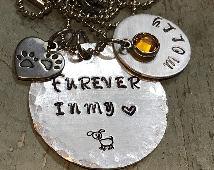 Rainbow bridge pet memorial necklace or keychain with birthstone - personalized