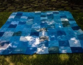 Blue Jean Quilt - Large Patchwork Quilt - Upcycled Denim Blanket