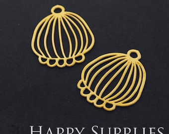 Exclusive - 4pcs Raw Brass Lantern Charm / Pendant, Fit For Necklace, Earring, Brooch (RD322)