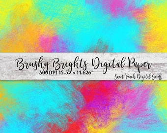 Brushy Brights Abstract Digital Paper Clip Art Image Single JPG Background / Digital Backgrounds / Printable Instant Download Scrapbooking