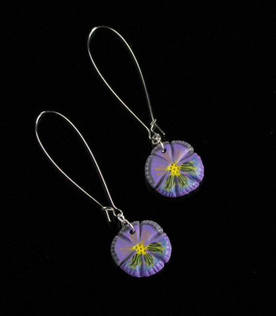 Purple Pansy Earrings, Unique Flower Earrings, Handmade Jewelry Gift for Women, Long Earrings, Lightweight Silver Earrings Birthday Gift