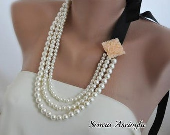 Bridesmaids gifts Handmade Weddings Pearl Necklace