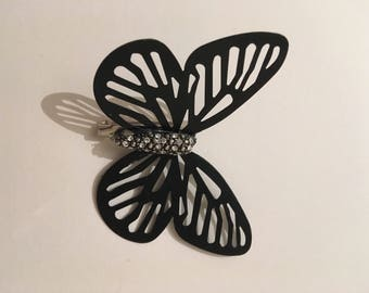 Butterfly brooch, black and silver
