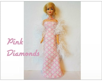 FRANCIE Doll Clothes - Boa, Gown and Jewelry - fits Twiggy, Casey - Custom Fashion - by dolls4emma