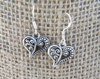 Tibetan Silver Plated Cut-Out Embossed Heart Earrings w/French Sterling Silver Ear Wires - Dangle Earrings