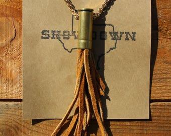 Brown Handcut Leather Tassel Spent Bullet Casing Necklace
