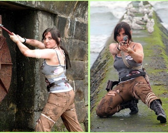 Heavy End Game Weathered Dual Vest Tops: Lara Croft Tomb Raider 2013 Inspired