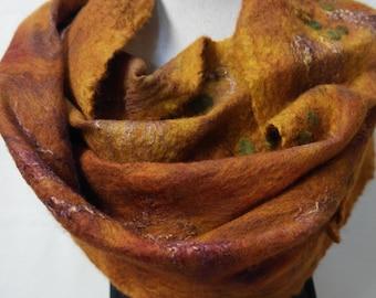Nuno felted scarf, maroon. Silk, wool, felt shawl, handmade for women