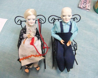 Vintage Shackman Porcelain Dolls - Grandma - Grandpa with Rocking Chairs - Made in Japan