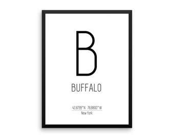Buffalo Print, Buffalo Printable Art, Buffalo Coordinates, Instant Download, Digital Download, Jpg, Pdf, New York Poster, Wall Art Gift