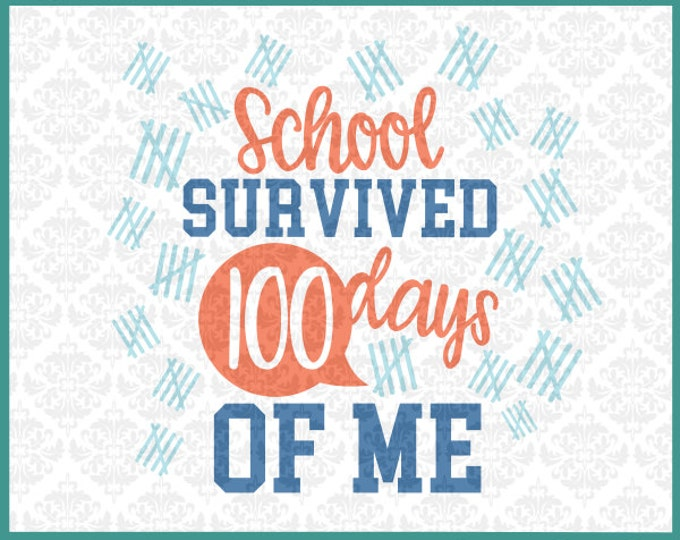 CLN078 School Survived 100 Days of Me Class Kindergarden SVG DXF Ai Eps PNG Vector Instant Download Commercial Cut File Cricut Silhouette