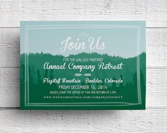 Company Retreat Invitation, Mountain Invitation, Company Event, Team Building, Corporate Retreat, Printable, DIY, Print Your Own