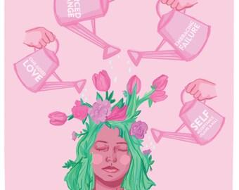 SELF GROWTH - Feminist Postcard