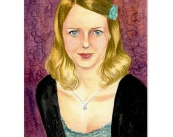 "blonde girl art  ""portrait of young Swedish blonde "" wall art print decor dorm"
