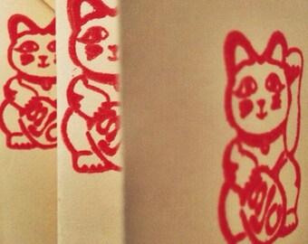 Large Japanese Super Lucky Cat Rubber Stamp Maneki Neko