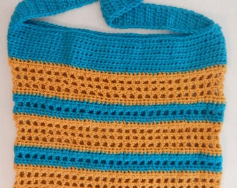 SALE Crochet Blue and Yellow Striped Beach Bag