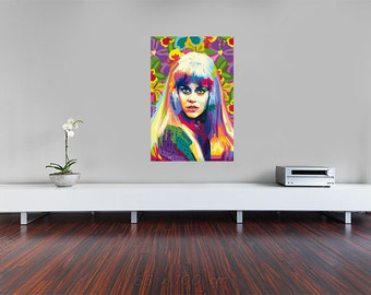 Tribute to Jane Fonda FRAMED ART, personalized gift, name, pop art Wall Art for cinema lovers and gift idea cineasts for women gift for men
