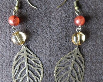 Bold Bronze Metal Leaf Dangle Earrings with Pale Yellow and Orange Glass Round Beads on Bronze Ear Wires