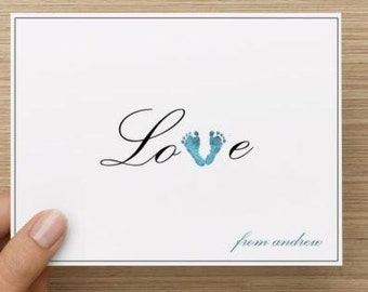 Baby thank you card: Personalized and personally designed baby boy baby shower thank you card!  Love with feet. Multiple pack sizes!