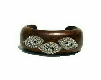 Mahogany wood cuff with crystal accents