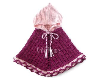 Toddler Girl Alpaca Cape, Little Girl Knit Sweater, Pink, Fuchsia Poncho With Hood, Kids Cute Clothes, One Of A Kind, Ready To Ship