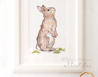 Bunny Art Print, Bunny Painting, Giclee Print,Nursery Art ,Archival art print, Nursery decor, Bunny art, Rabbit art print