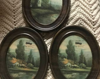 """3 Antique 8 1/2 x 6 1/2""""  1/2"""" thick Oval Metal Picture Frames. Looks like Wood"""