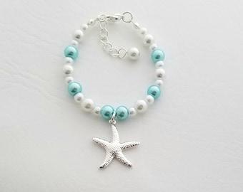 Starfish Bracelet Wedding Jewelry Bridesmaid Gift Bridal Jewelry Girls Bracelet Flower Girl Bracelet Party Gift Personalized Bracelet,