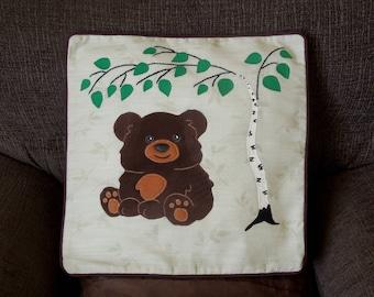 "Bear pillow, cushion cover ""Little Bear under the Tree"" handmade, applique, animal"
