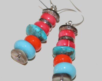 Orange and Turquoise Lampwork Earrings