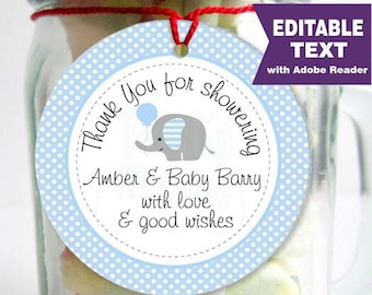 Editable Blue Elephant Tags, Printable Boy Baby Shower Stickers, Thank You Party Favor Tag, Toppers, Instant Download - D009 BBEB1
