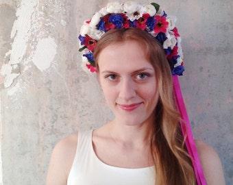Oversize flower crown Blue pink creamy headband Ranunculus flower crown Garden party headband Summer flower crown Flower girl, OOAK
