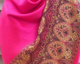 Festival Scarf,Cashmere Shawl,Pashmina,Hot Pink Pashmina,Gold Shawl, Brown Pashmina,Scarf with Border,Mother of the Bride Shawl,Wedding wrap