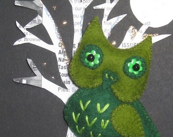 Sage the Owl Felt Brooch Pin