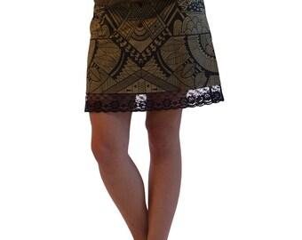 Festival Clothing - Printed Skirt - Tribal Clothing - Short Skirt - Cotton Khaki Skirt - Lace Skirt - Ishtar Tribal Mini Skirt